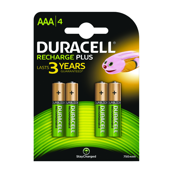 Duracell Stay Charged Rechargeable AAA NiMH 750mAh Batteries (4 Pack) 81364750