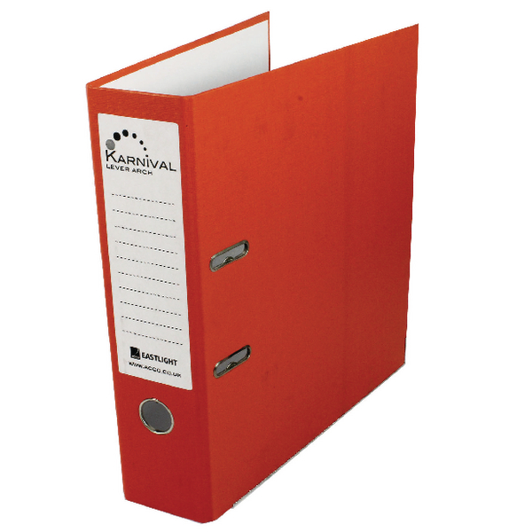 Rexel Karnival 70mm Orange A4 Lever Arch File (Pack of 10) 20746EAST
