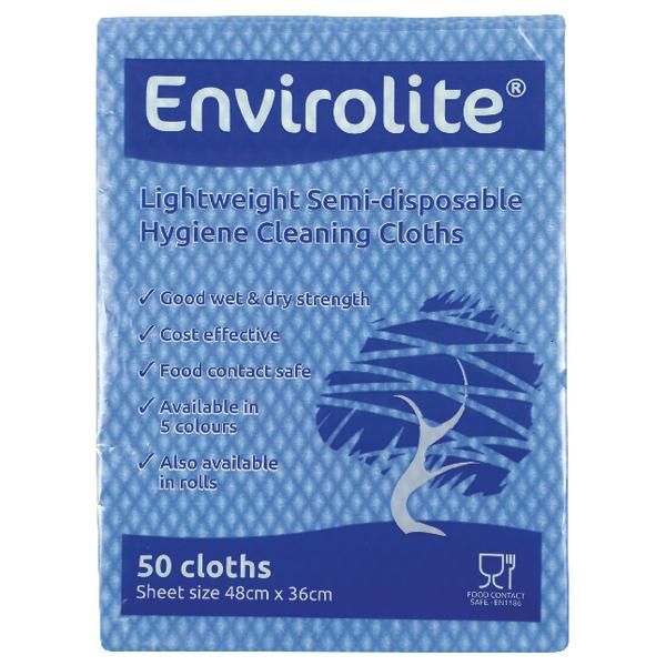 Envirolite Lightweight 480x360mm Blue All Purpose Cloths (Pack of 50) ELF500