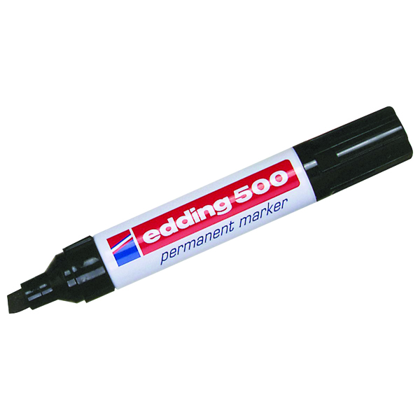 Edding 500 Large Chisel Tip Permanent Marker Black (Pack of 10) 500-001