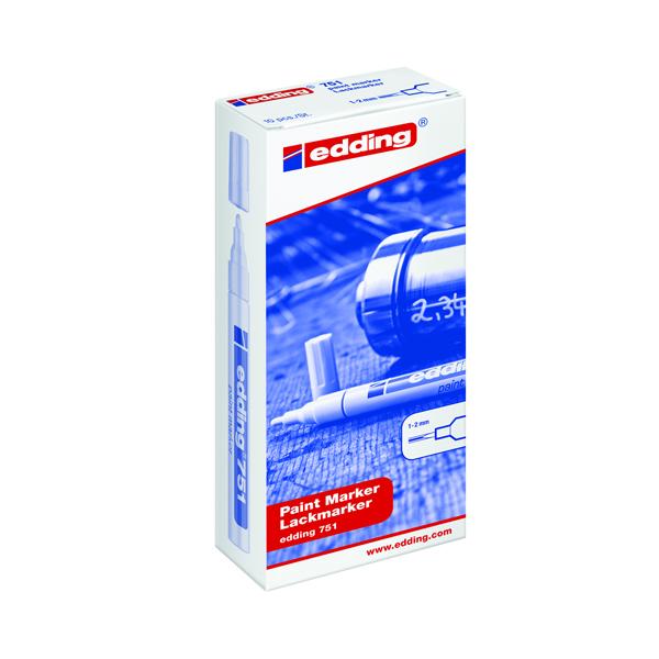 Edding 751 Paint Marker Fine Bullet Tip White (Pack of 10) 751-049