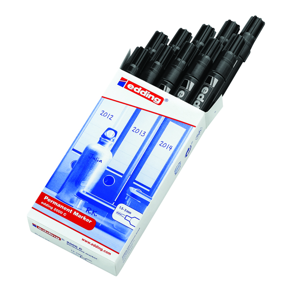 Edding 2000C Permanent Black Bullet Tip Marker (Pack of 10) 2000C-001