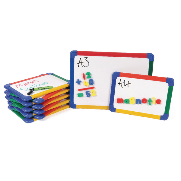 Show-me A3 Rainbow Framed Magnetic Whiteboard (Pack of 5) MBA3/5