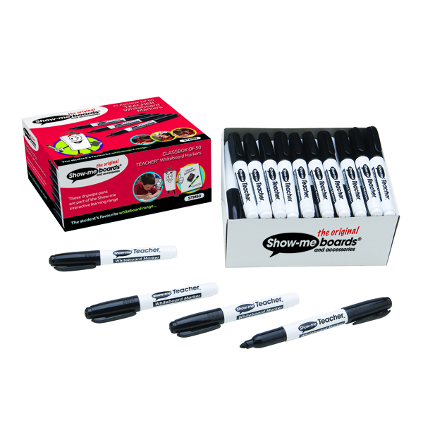 Show-Me Teacher Drywipe Black Marker (50 Pack) STM50