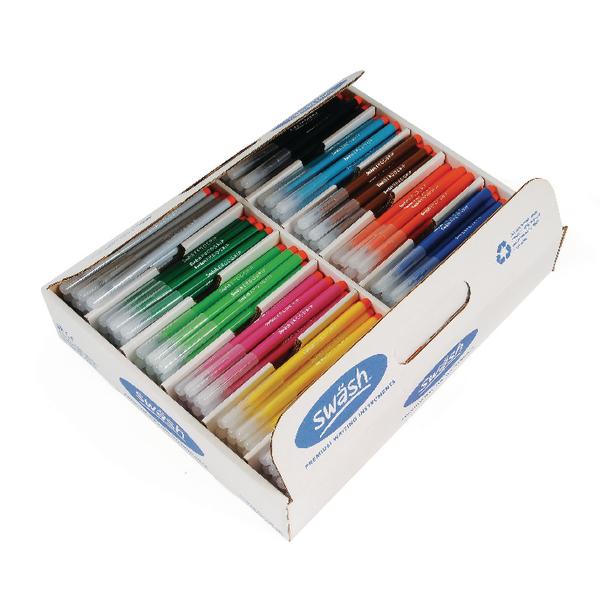 Swash Komfigrip Colouring Pen Fine Tip Assorted (Pack of 300)