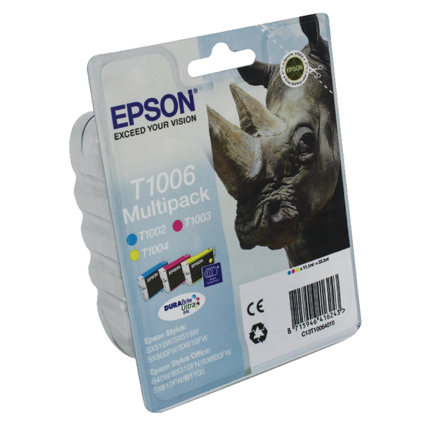 Epson T1006 Cyan/Magenta/Yellow Inkjet Cartridges (Pack of 3) C13T10064010 / T1006