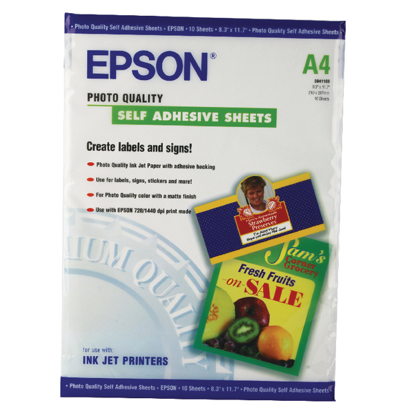 Epson White Photo Paper Self-Adhesive 167gsm (10 Pack) C13S041106