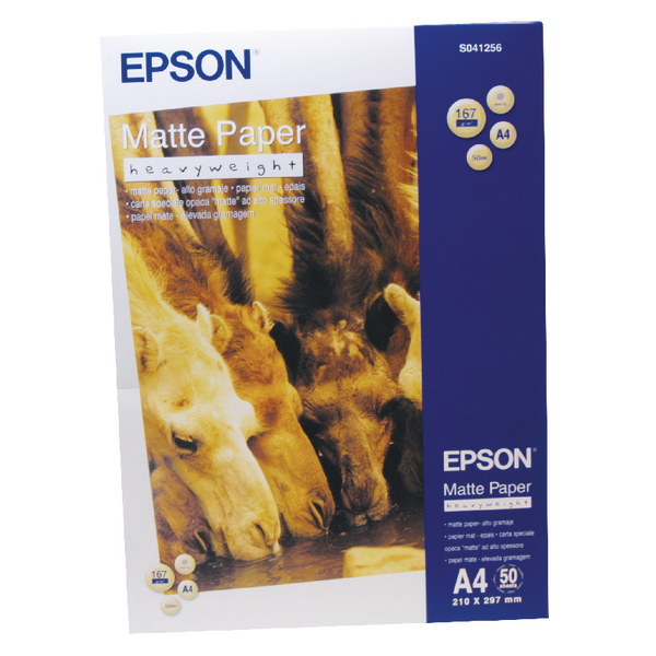Epson Matte White A4 Heavyweight Paper 167gsm (50 Pack) C13S041256