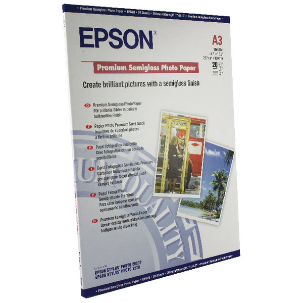 Epson A3 Premium Semi-Gloss Photo Paper (20 Pack) C13S041334