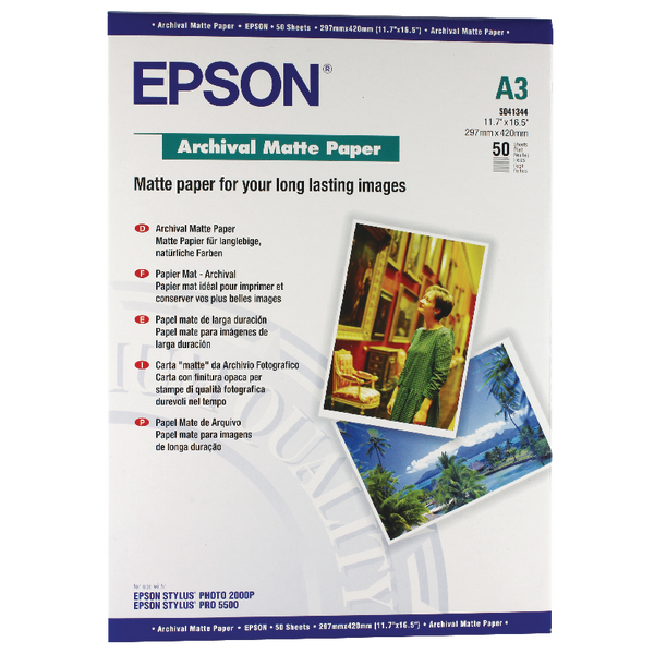 Epson A3 Archival Matt Paper Pack of 50 C13S041344