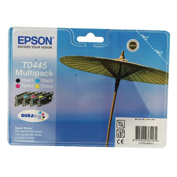 Epson T0445 Black /Cyan/Magenta/Yellow Inkjet Cartridge (Pack of 4) C13T04454010 / T0445