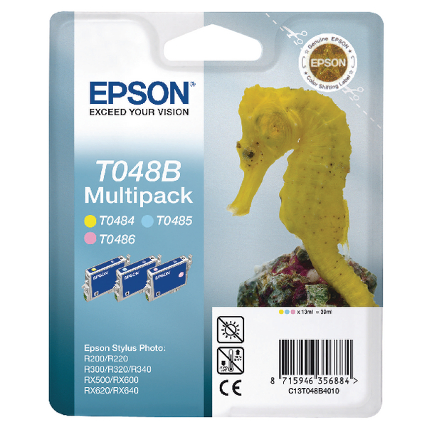 Epson R300/RX500 Inkjet Cartridge 6 Pack T048 C13T048140BA