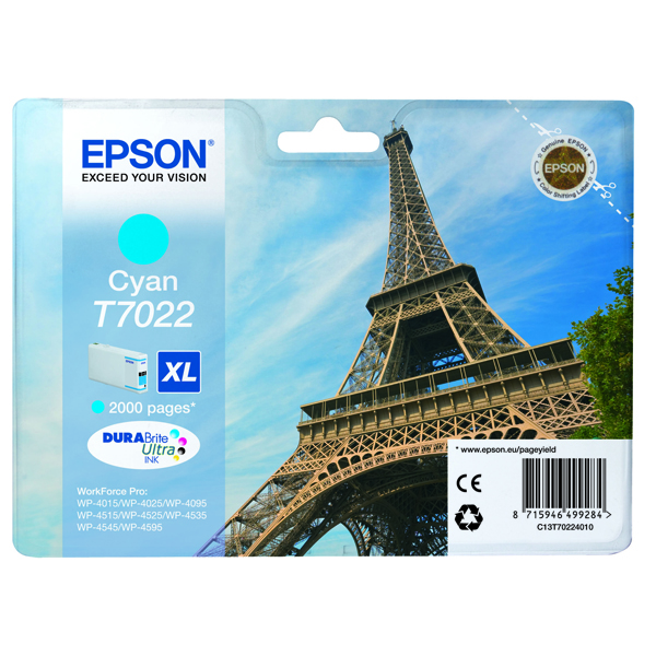 Epson T7022 Cyan High Yield Inkjet Cartridge C13T70224010 / T7022