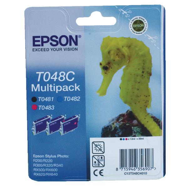 Epson T048C Cyan/Magenta/Black Inkjet Cartridge (3 Pack) C13T048C4010 / T048C