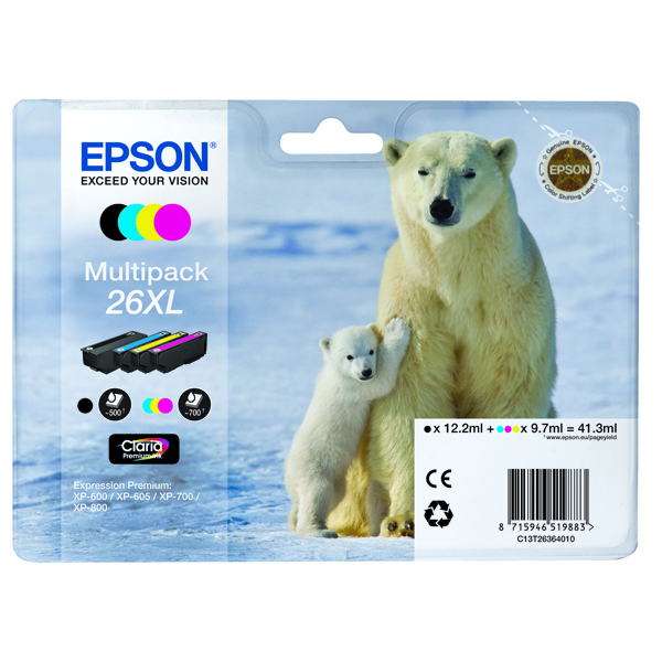Epson 26XL Black/Cyan/Magenta/Yellow High Yield Inkjet Cartridge (4 Pack) C13T26364010 / T2636