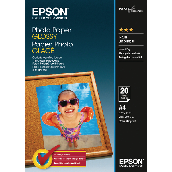 Epson Photo Paper Glossy A4 200gsm (Pack of 20) C13S042538