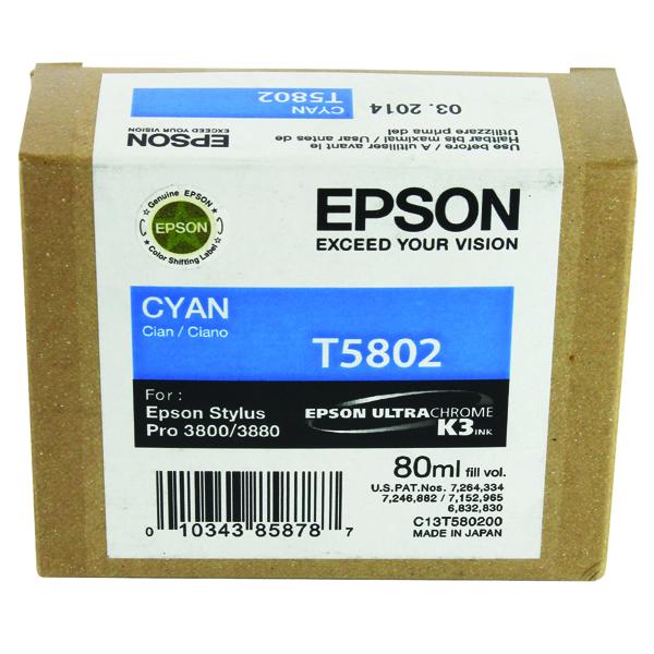 Epson T5802 Cyan Inkjet Cartridge C13T580200 / T5802 135 Sheets