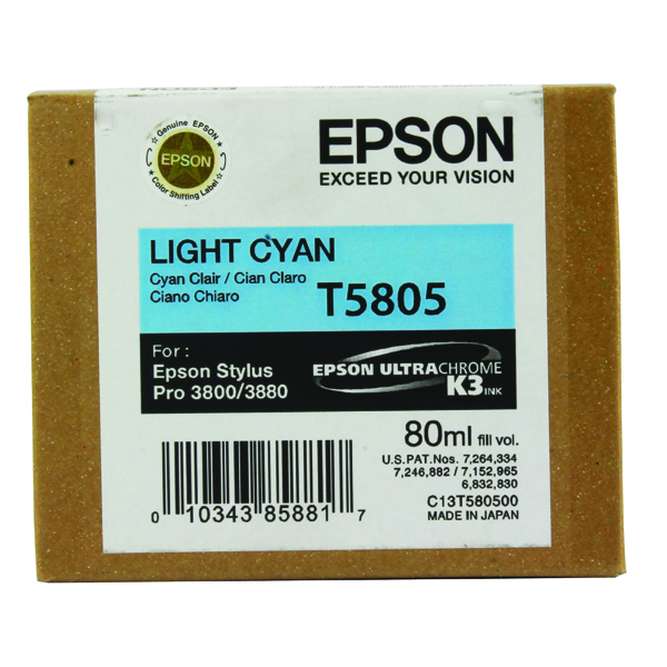 Epson T5805 Light Cyan Inkjet Cartridge C13T580500 / T5805