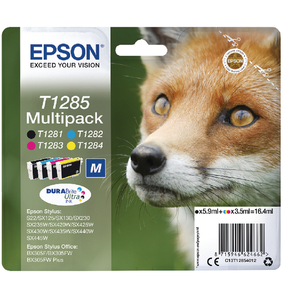 Epson T1285 Black Cyan Magenta Yellow Inkjet Cartridge Value Pack of 4 C13T12854012