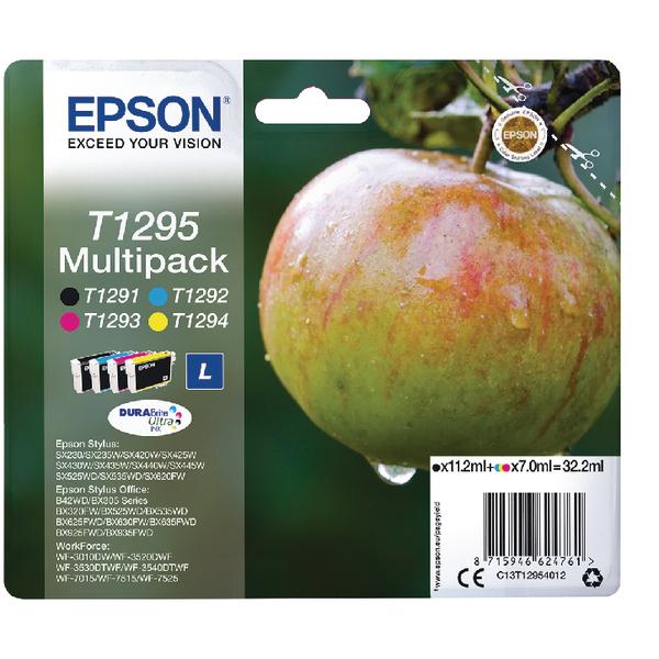 Epson T1295 Black Cyan Magenta Yellow Ink Cartridge Pack of 4 C13T12954012