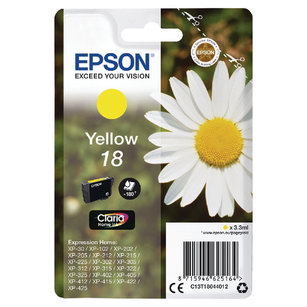 Epson 18 Yellow Inkjet Cartridge C13T18044012