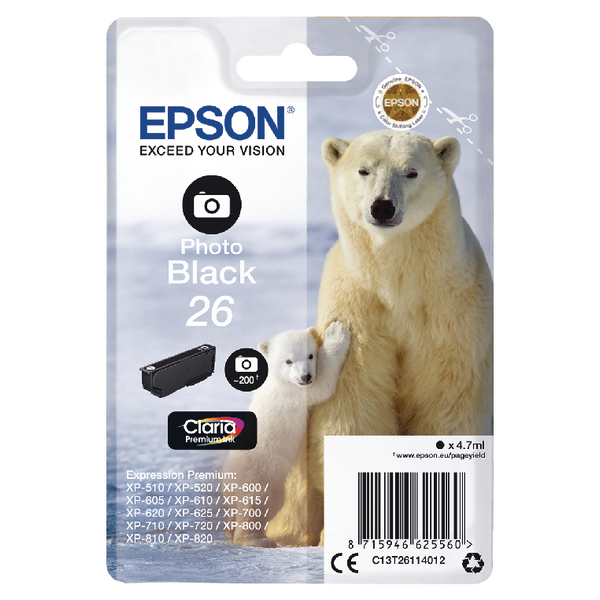 Epson 26 Photo Black Inkjet Cartridge C13T26114012