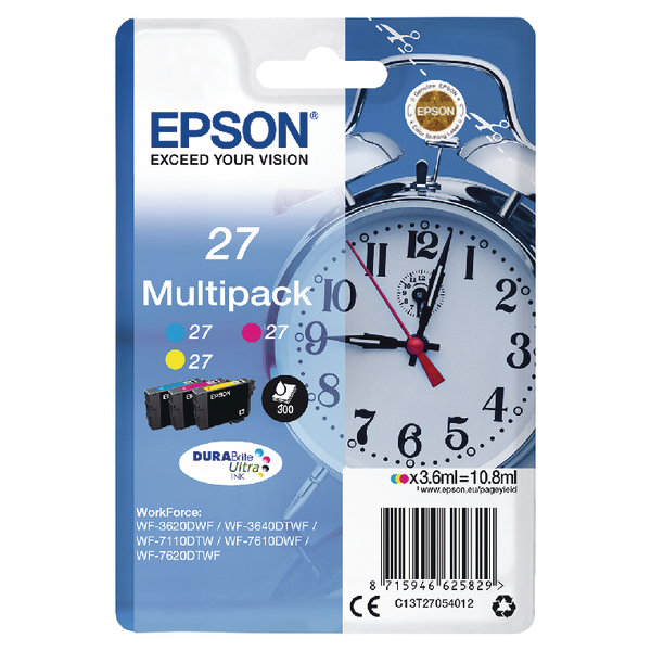 Epson 27 Cyan Magenta Yellow Ink Cartridges (Pack of 3) C13T27054012
