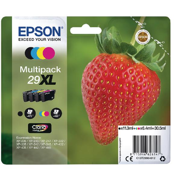 Epson 29XL Black Cyan Magenta Yellow Ink Cartridge Value Pack of 4 C13T29964012