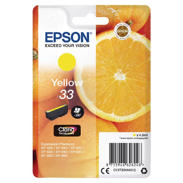 Epson T33 InkJet Cart Yell C13T33444012