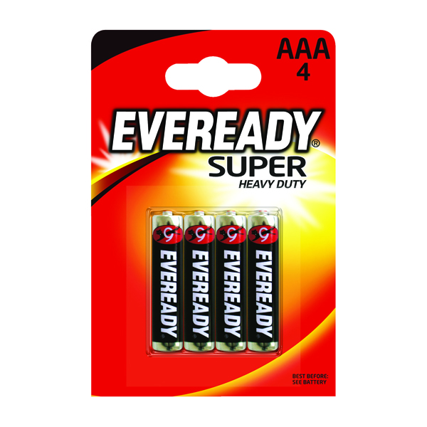 Eveready Super Heavy Duty AAA Batteries (Pack of 4) RO3B4UP