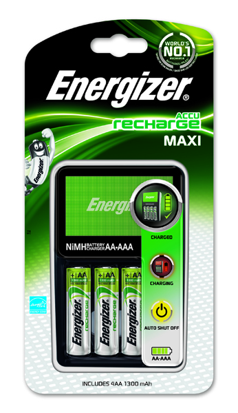 Image for Energizer Maxi Battery Charger 4x AA Batteries 2000 Mah UK 633151