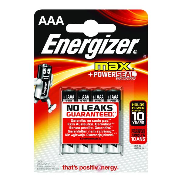 Energizer MAX E92 AAA Batteries (4 Pack) E300124200
