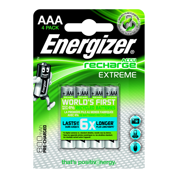 Energizer Extreme Rechargable AAA Batteries 800mAh (Pack of 4) 635751