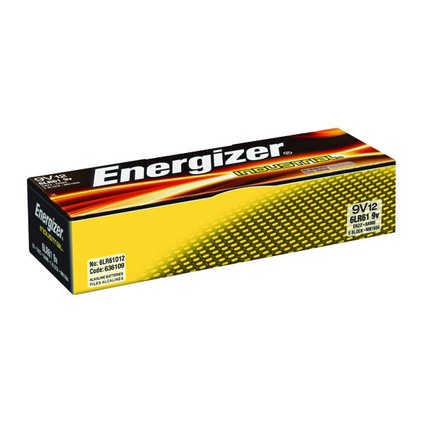 Energizer 9V Industrial Batteries (Pack of 12) 636109
