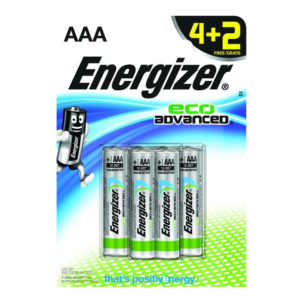 Energizer EcoAdvanced Alkaline AAA Batteries E92 (Pack of 4) + 2 Free) E300135300