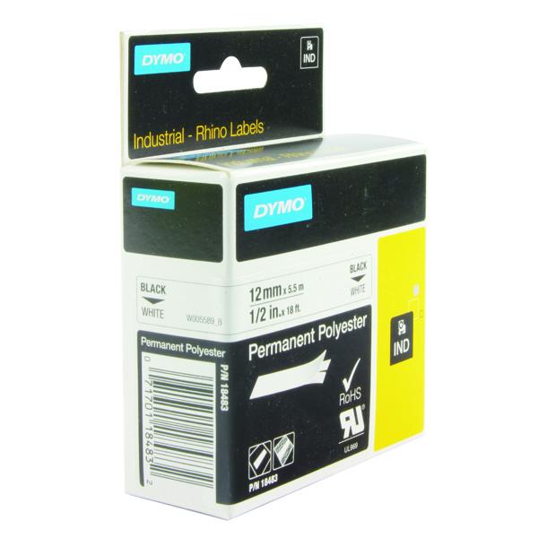 Dymo White Rhino Polyester Tape 12mmx5.5m S0718210