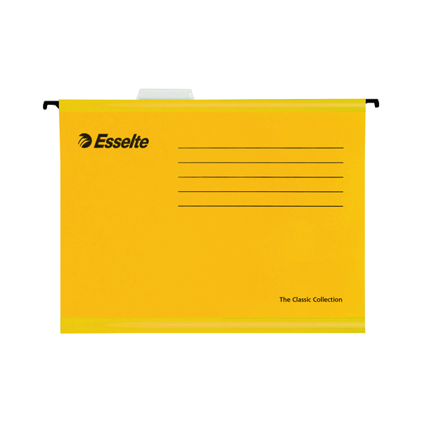 Esselte Classic Foolscap Yellow Suspension File Pack of 25 90335