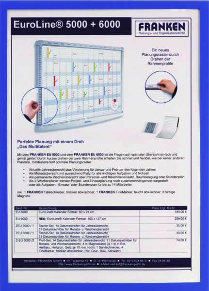 Franken Document Holder Magnetic Din A4 5-pieces Blue ITSA4M/5 03 (Pack of 5)