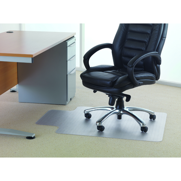 Cleartex PVC Chair Mat Carpet Lipped 1200x900mm Clear 119225LV