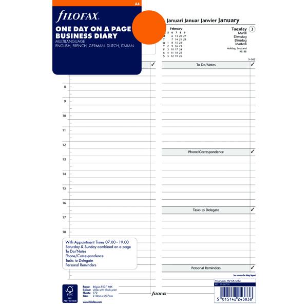 Filofax A4 Day/Page 2018 Refill 18-68719