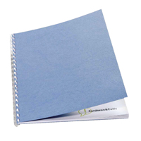 Acco GBC A4 Binding Covers 250gsm Textured Leathergrain Plain Wedgewood Blue Pack 100 CE040021