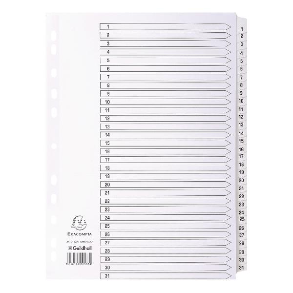 Guildall Mylar 1-31 A4 White Index MWD1-31Z