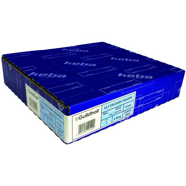 Guildhall GLX Ergogrip Frosted Ring A4 Binder Cobalt Blue (2 Pack) 4542