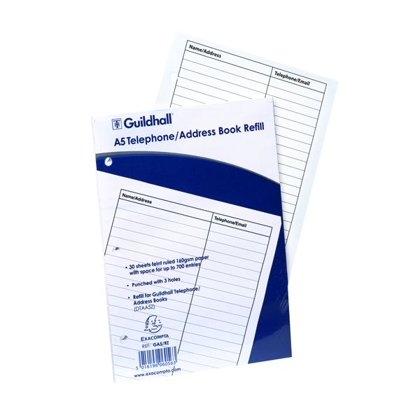 Image for Goldine A5 Telephone Address Book Refill GA5/R