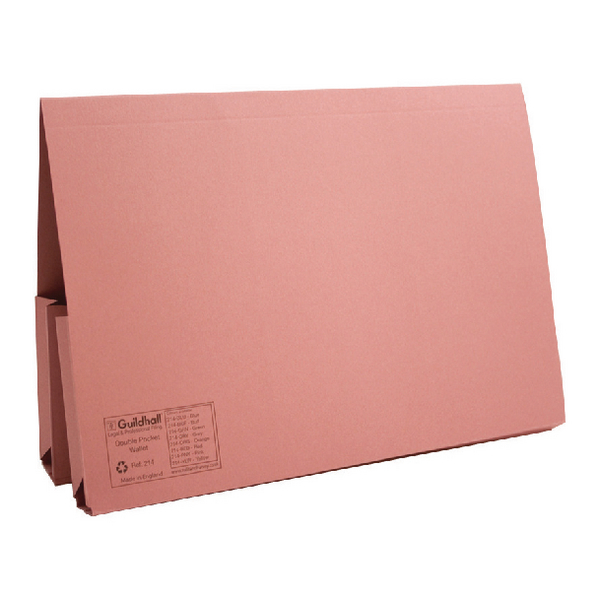Image for Guildhall Pink Double Pocket Legal Wallet Foolscap (Pack of 25) 214-PNK