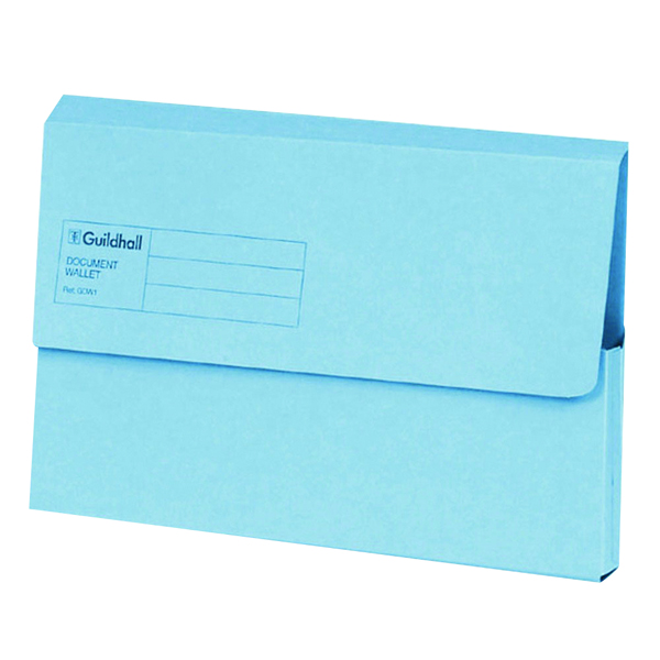 Guildhall Foolscap Blue Document Wallet (50 Pack) GDW1-BLU