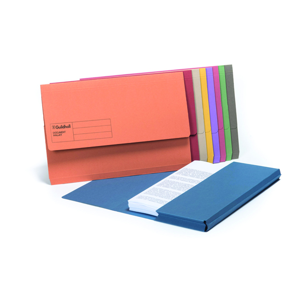 Guildhall Foolscap Assorted Document Wallets Pack of 50 GDW1-AST