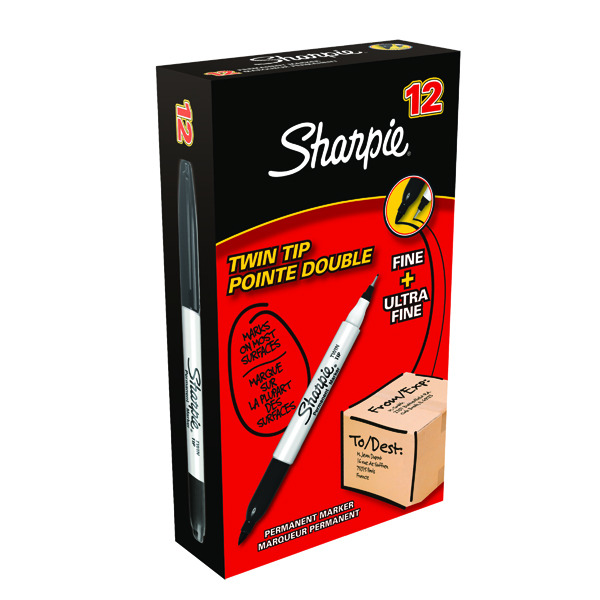Sharpie Black Twin Tip Permanent Marker (12 Pack) S0811100