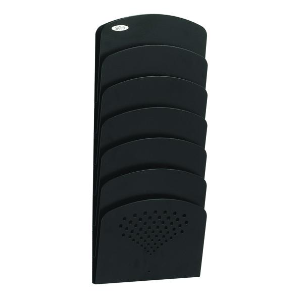 Safco Steel Black Seven-Pocket Wall Rack 3185BL