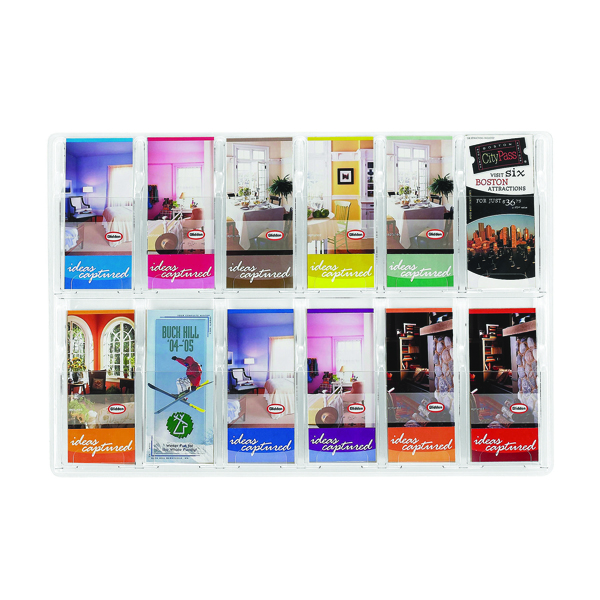Safco Reveal Clear Pamphlet Display Rack 12xDL Pocket 5604CL